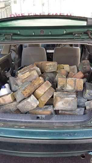 Bricks in car